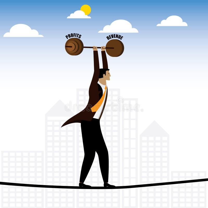 Affärsman eller ledare som går på spänd lina som balanserar intäkt stock illustrationer