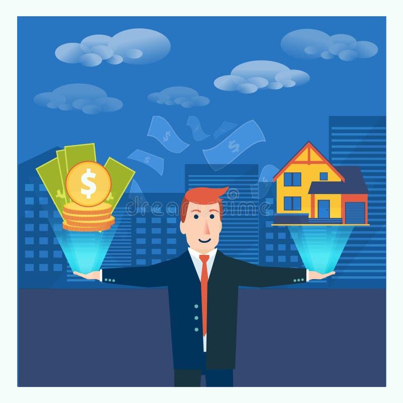 Affärsman eller mäklare som balanserar pengar och huset i hans händer Beträffande stock illustrationer