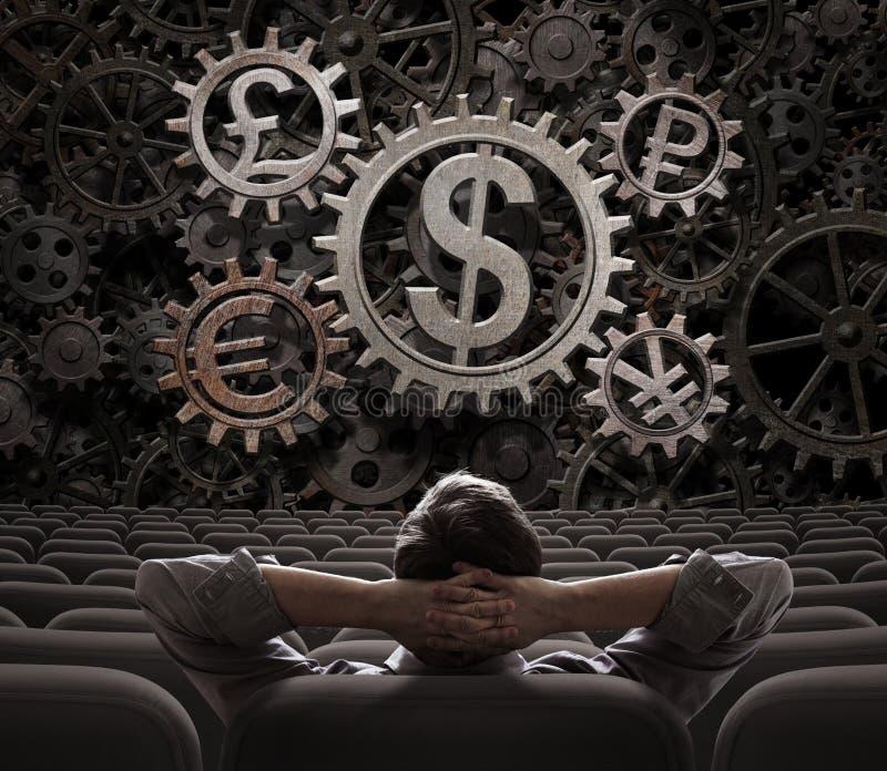 Affärsman eller mäklare som ser på illustration för funktionsdugliga kugghjul 3d för valutor arkivbilder