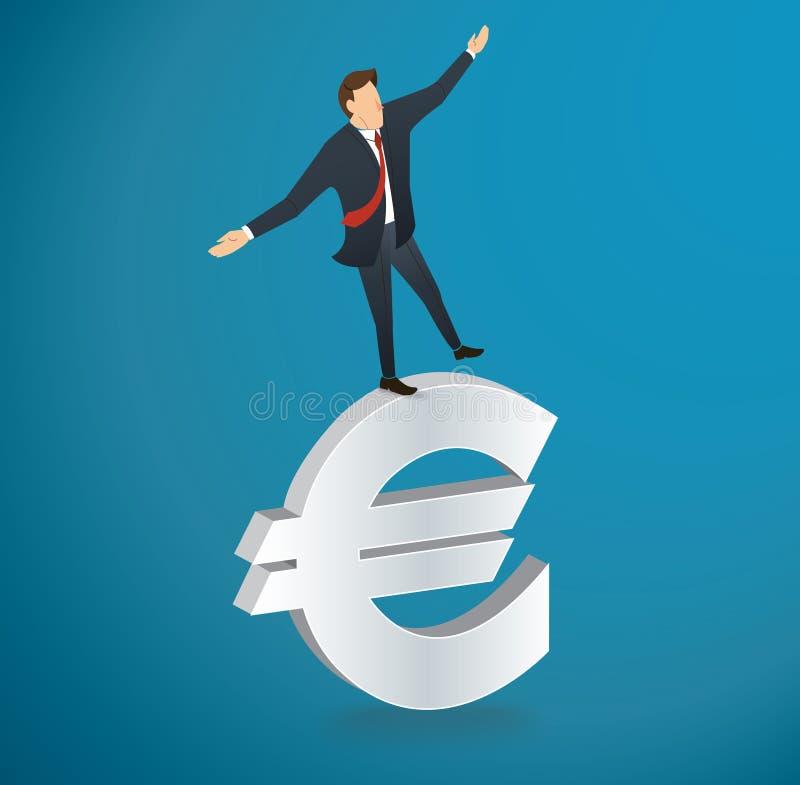 Affärsman eller man som går i jämvikt på eurosymbolsvektor vektor illustrationer