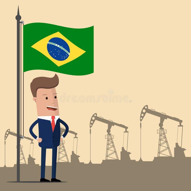 Affärsman eller politiker under flaggan av Brasilien mot bakgrunden av oljapumpar också vektor för coreldrawillustration royaltyfri illustrationer