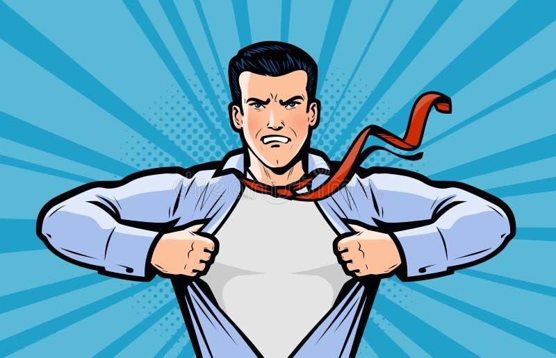 Affärsman eller superhero Vektorillustration i komisk popkonst för stil stock illustrationer