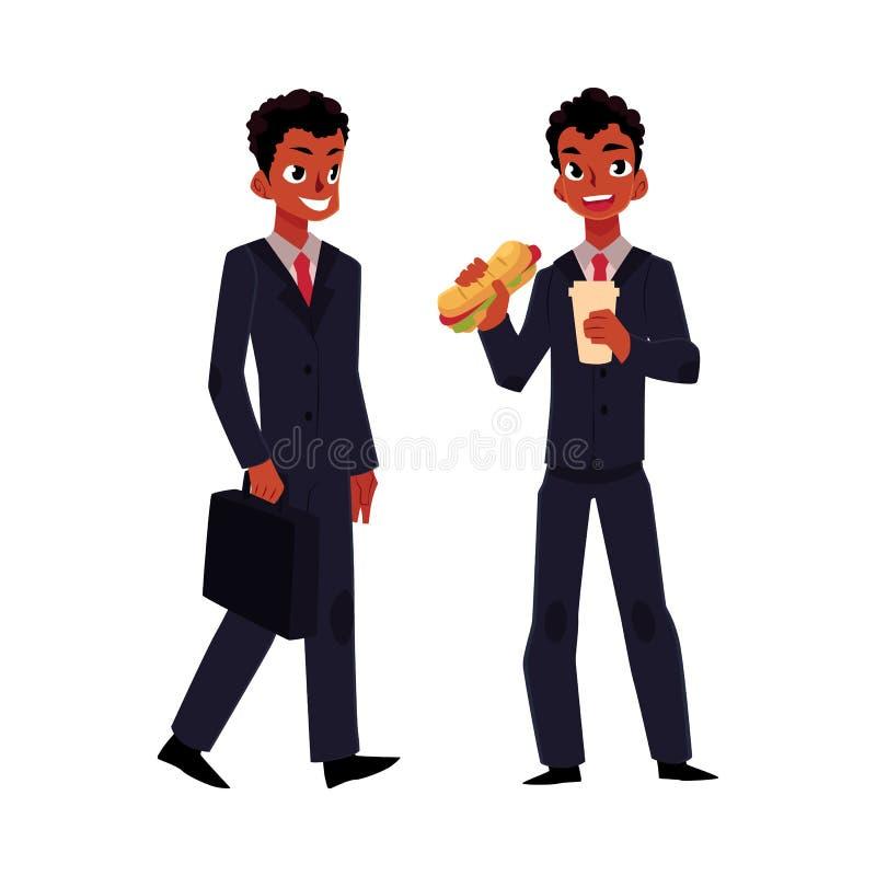 Affärsman för svart afrikan som går att arbeta och att äta smörgåsen för lunch royaltyfri illustrationer