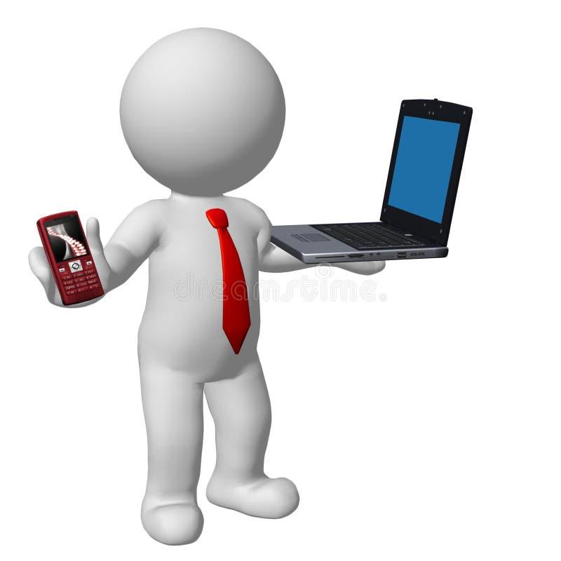 affärsman för tecken 3d med bärbara datorn och mobiltelefonen royaltyfri illustrationer