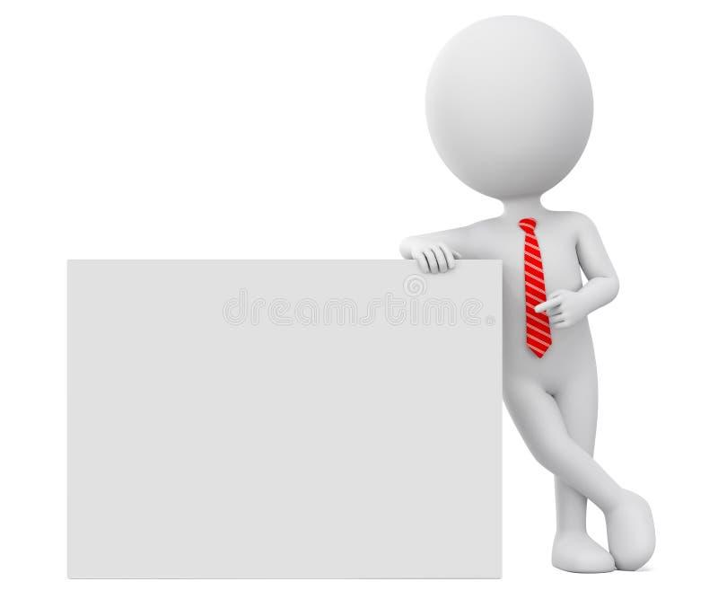 Affärsman för tecknad filmtecken i röda punkter för ett band till ett tomt bräde illustrationen 3d framf?r annonsering av illustr royaltyfri illustrationer