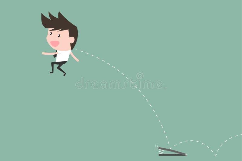 Affärsman Fast Jumping till målet bollar dimensionella tre stock illustrationer