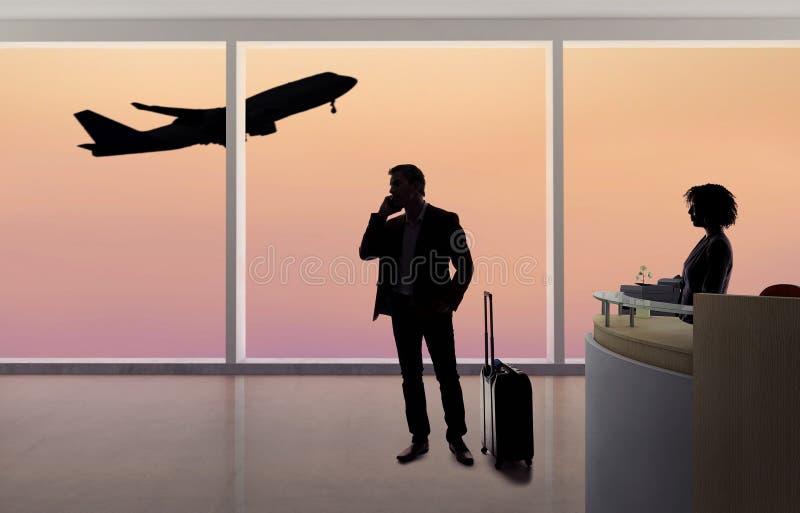 Affärsman Fighting med flygvärdinnan eller receptionisten på flygplatsen arkivbilder