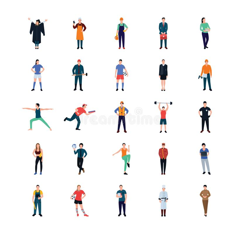 Affärsman Flat Icons Pack s vektor illustrationer