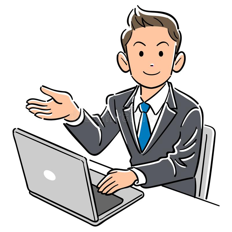 Affärsman fungerande handböcker för en persondator stock illustrationer