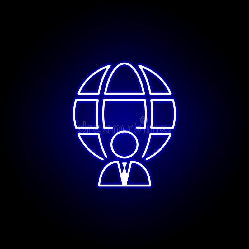 Affärsman global symbol Best?ndsdelar av personalresursillustrationen i neonstilsymbol Tecknet och symboler kan anv?ndas f?r reng royaltyfri illustrationer
