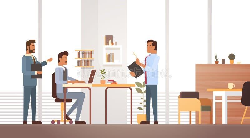 AffärsMan Group möte som diskuterar att arbeta för Businesspeople för kontorsskrivbord royaltyfri illustrationer