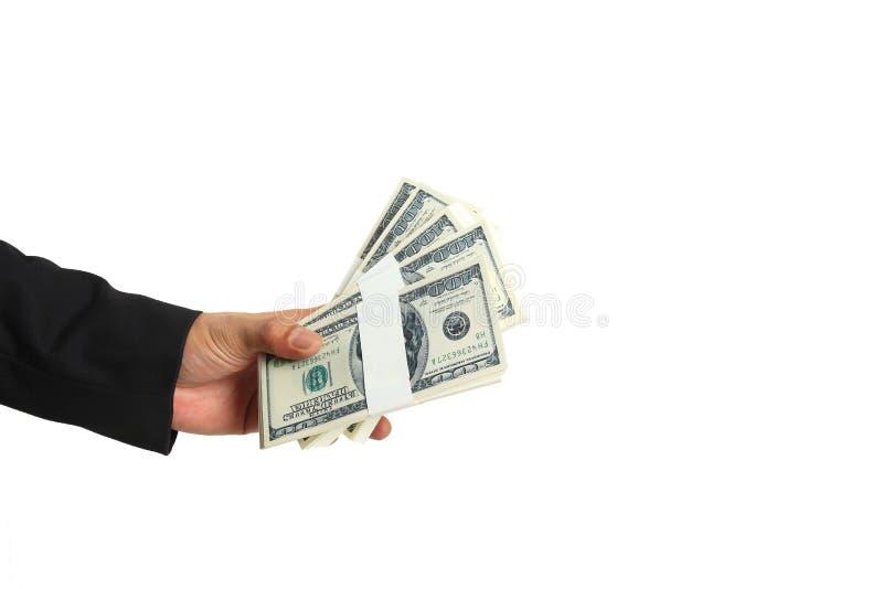 Affärsman Hand med usd-dollarpengar på vit bakgrund, att ge sig och finansiella begrepp royaltyfri fotografi