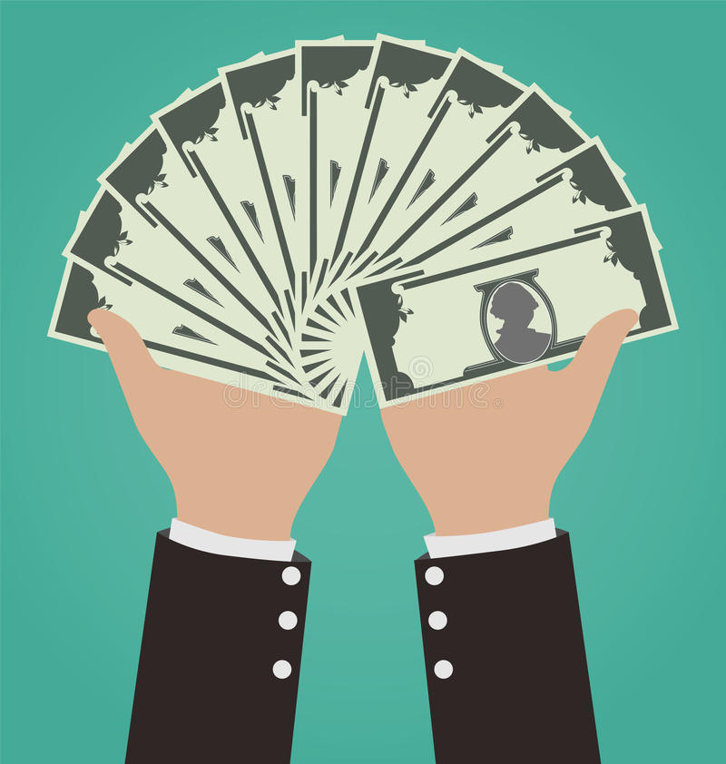 Affärsman Hands Giving Money vektor illustrationer