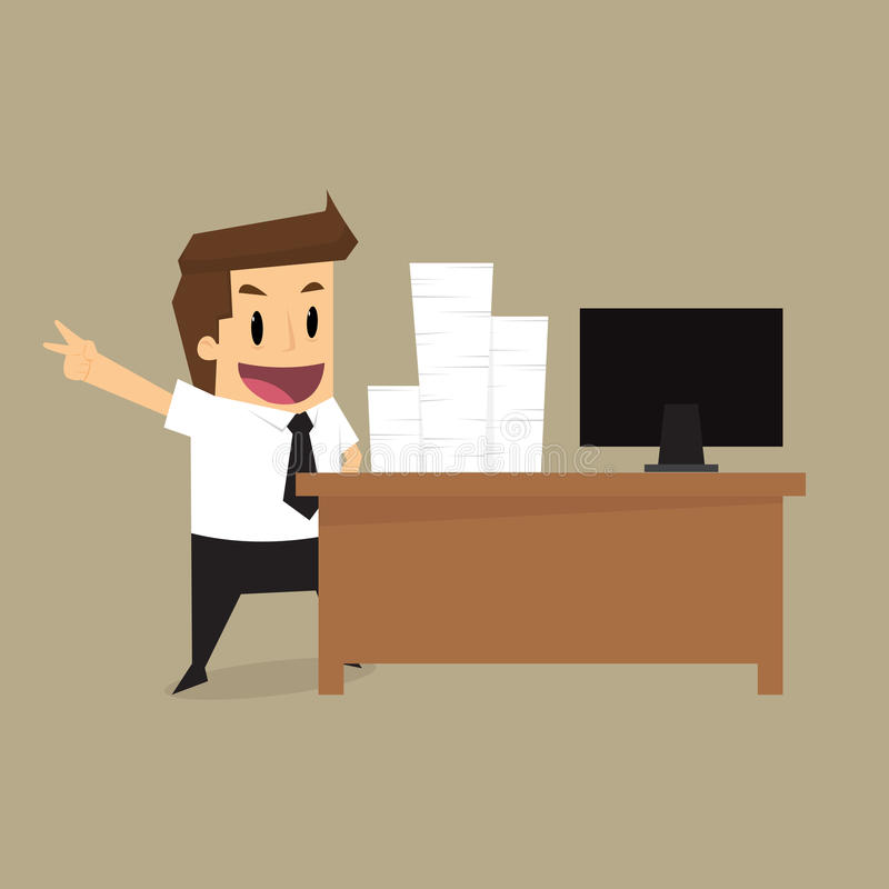 Affärsman Hard Working stock illustrationer