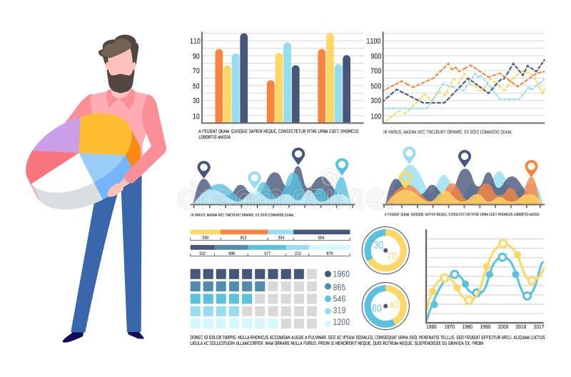 Affärsman Holding Pie Diagram, Infocharts uppsättning vektor illustrationer