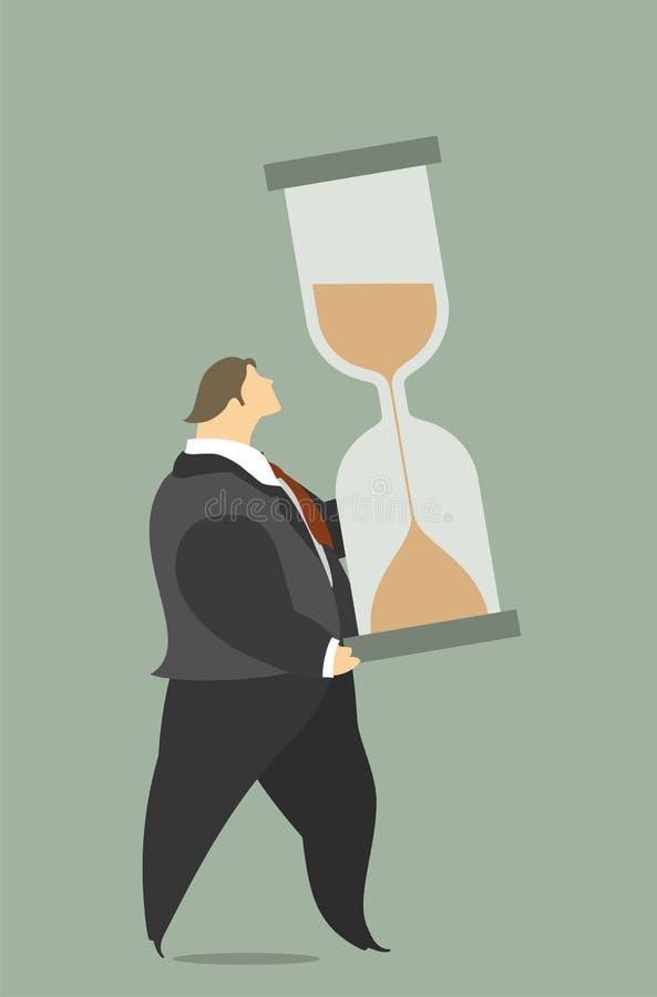 Affärsman Is An Hourglass royaltyfri illustrationer