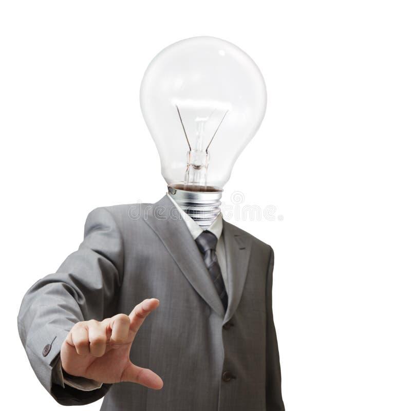 Affärsman huvud för ljus kula arkivbild