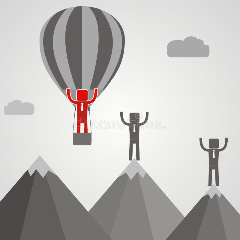 Affärsman i ballongflugapasserande hans konkurrent Affärsidé Co royaltyfri illustrationer