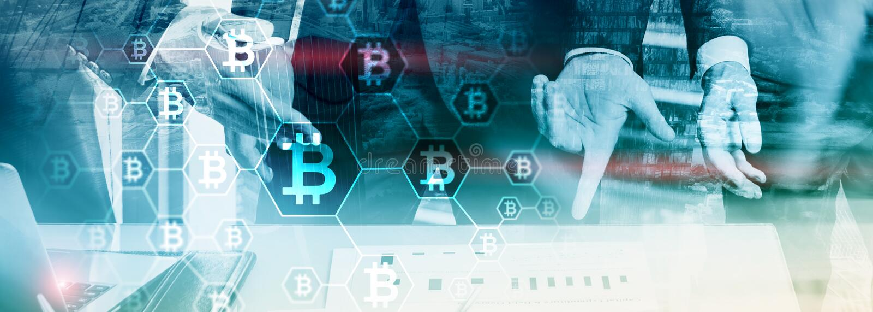 Affärsman i blockchaincryptocurrencybegrepp Bakgrund för blandat massmedia royaltyfria foton