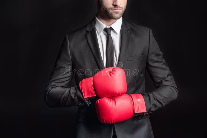 Affärsman i boxninghandskar royaltyfri foto
