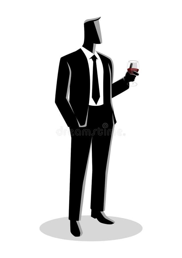 Affärsman i den formella dräkten som rymmer ett exponeringsglas av vin stock illustrationer