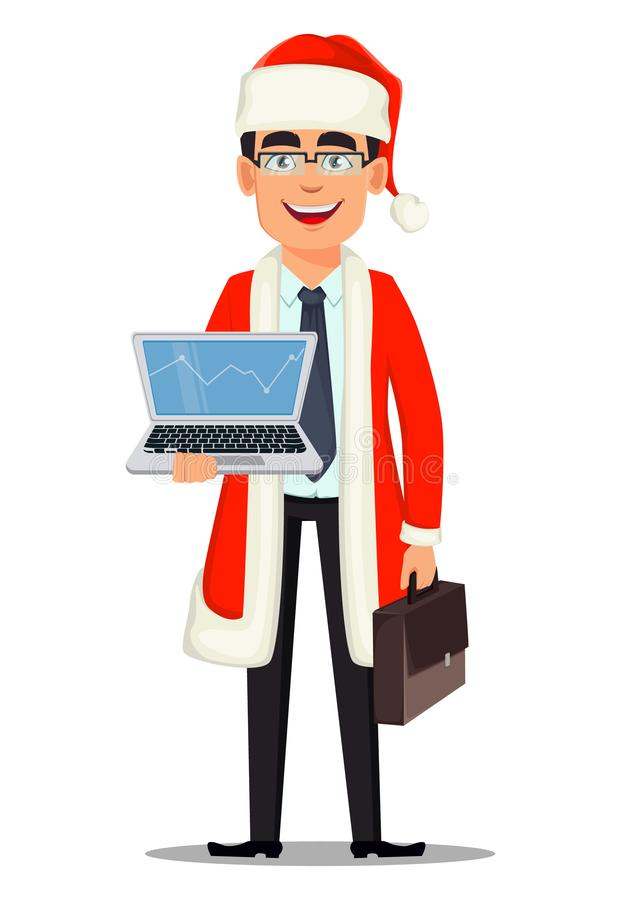 Affärsman i den Santa Claus dräkten royaltyfri illustrationer