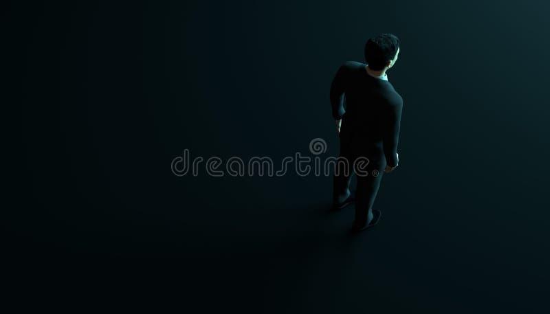 Affärsman i dräkt på svart bakgrund med copyspace 3d framför royaltyfri illustrationer
