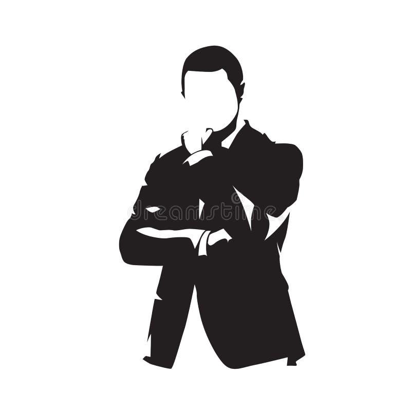 Affärsman i dräkt som tänker, isolerad vektorkontur vektor illustrationer