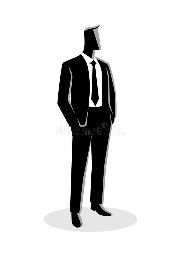 Affärsman i dräktanseende vektor illustrationer