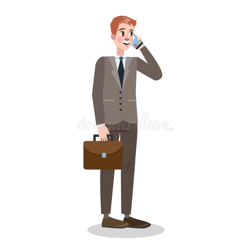 Affärsman i dräkten som står och talar på mobilen royaltyfri illustrationer