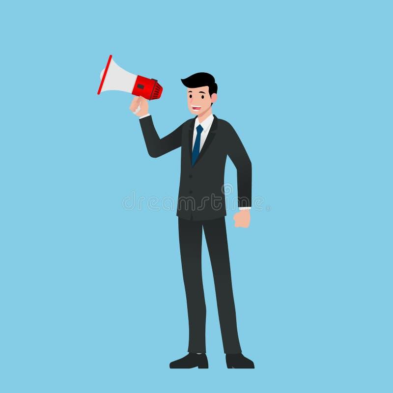 Affärsman i dräktställning och innehav eller yellin megafon för använda, högtalaren för att ropa för spridning orden, att sälja,  royaltyfri illustrationer