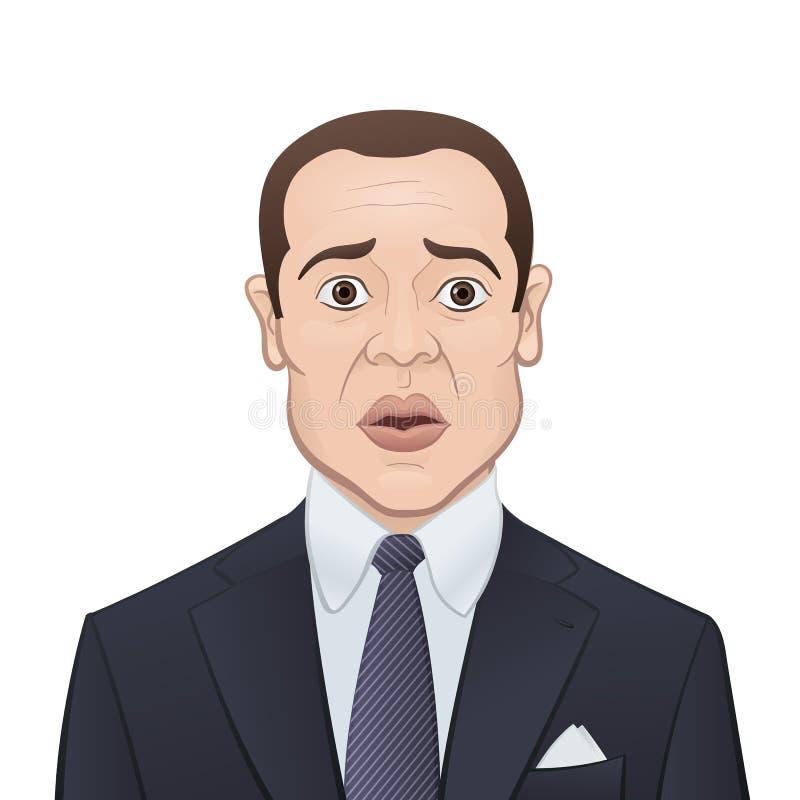 Download Affärsman I En Dräkt Och Band På Vit Bakgrund Vektor Illustrationer - Illustration av framsida, cartoon: 37347159