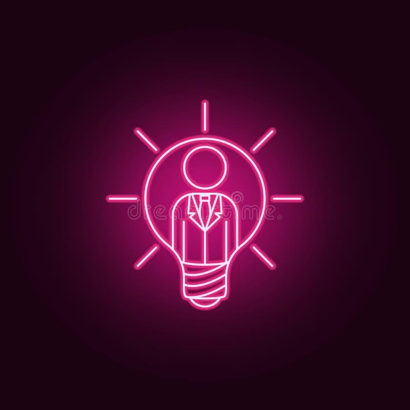 affärsman i en neonsymbol för ljus kula r Enkel symbol f?r websites, reng?ringsdukdesign, mobil app, informationsdiagram stock illustrationer