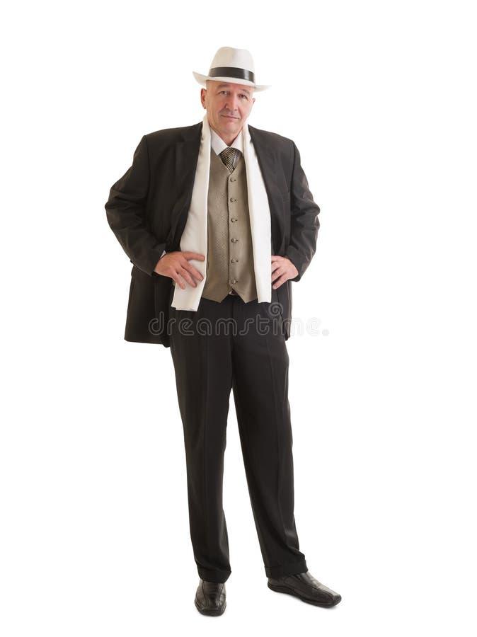 Affärsman i en retro affärsdräkt arkivfoton