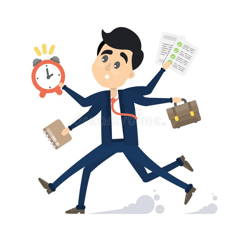 Affärsman i en rusa stock illustrationer