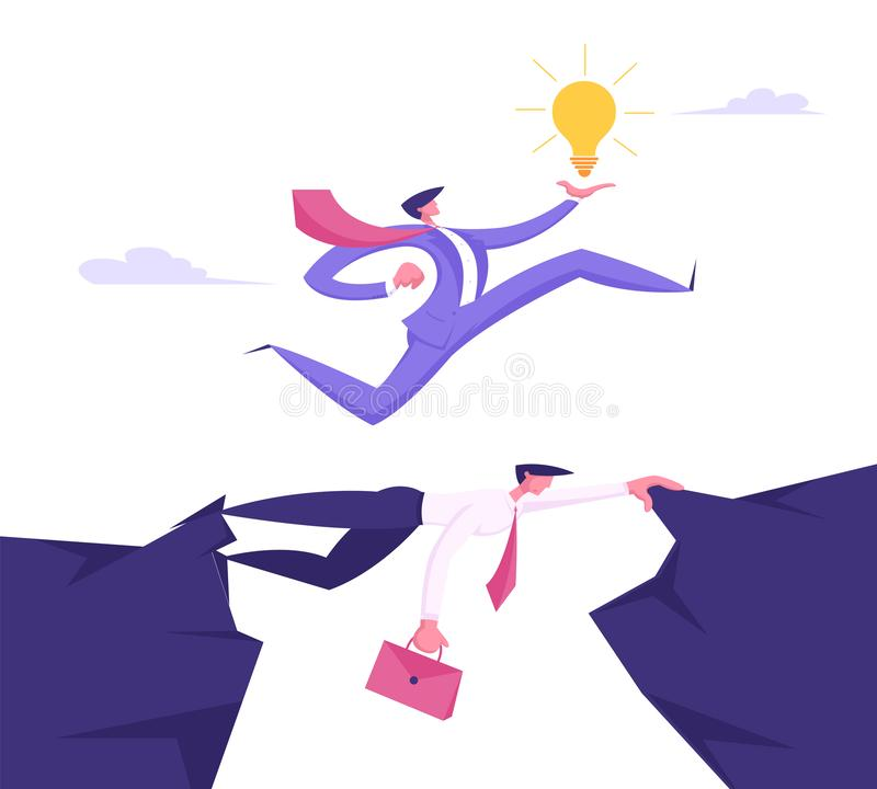 Affärsman i formell dräkt med den glödande ljusa kulan i handen som uppe i luften kör av affärsmannen Colleague, idérik idé stock illustrationer