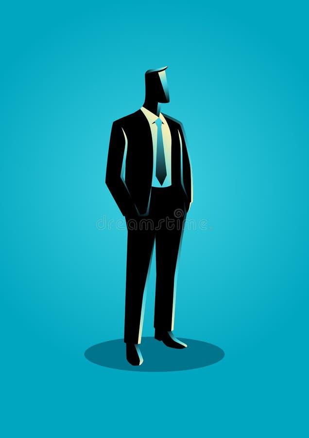 Affärsman i formellt dräktanseende royaltyfri illustrationer