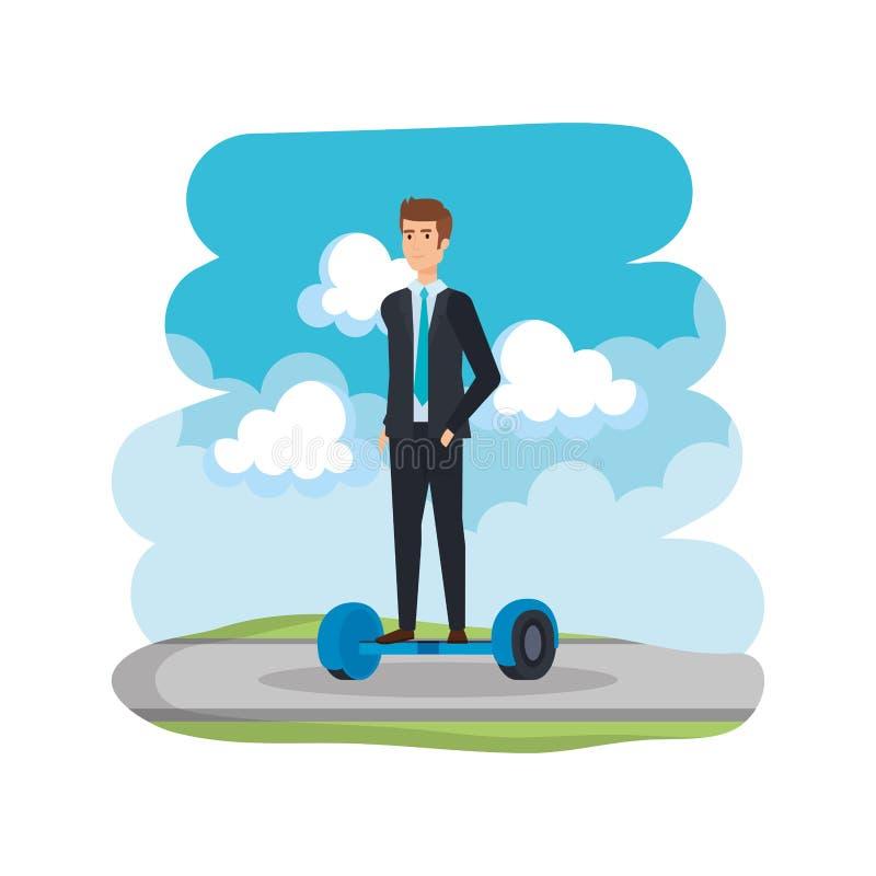 Affärsman i hoverboardelkraft på vägen stock illustrationer
