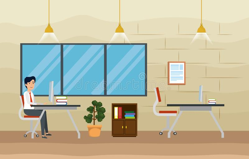 Affärsman i kontoret med information om dator och om böcker stock illustrationer