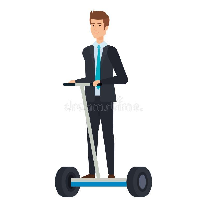 Affärsman i vikande e-sparkcykel vektor illustrationer