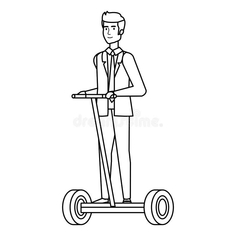 Affärsman i vikande e-sparkcykel stock illustrationer