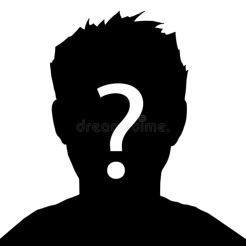 Affärsman Icon Inkognito okänd person, kontur av mannen på vit bakgrund vektor illustrationer