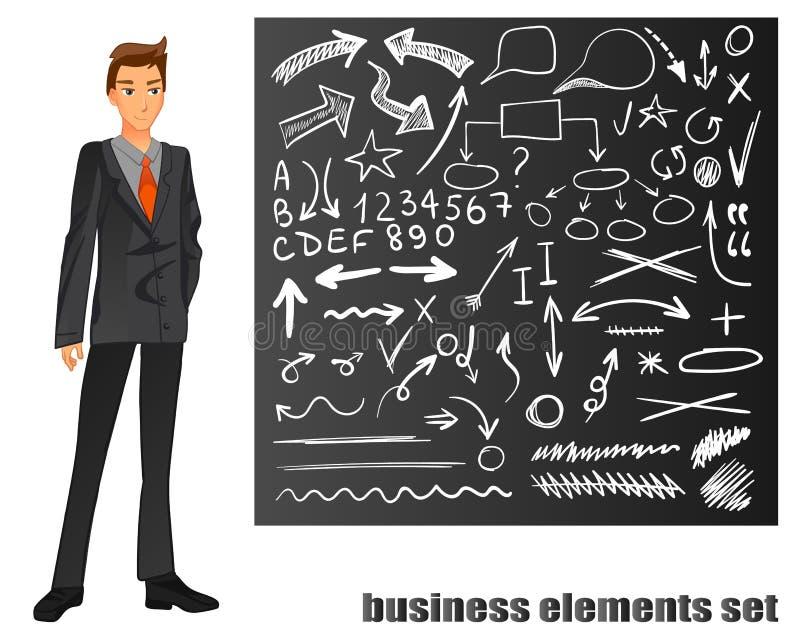 affärsman isolerad dräktwhite orange tie Den svart tavlan med handen dragen affär skissar Illustration för vektorEPS 8 royaltyfri illustrationer
