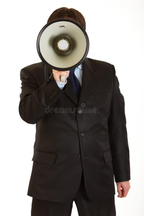 affärsman isolerat tala för megafon arkivfoton