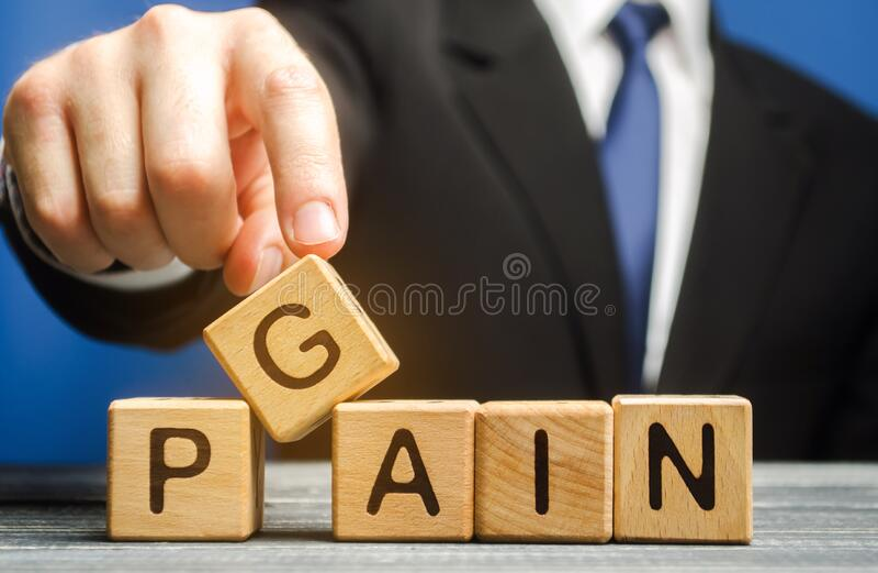 Affärsman lägger träblock med orden Gain, smärta Motivering, ambitioner, koncept för måluppfyllelse Hantering och förändring arkivbild