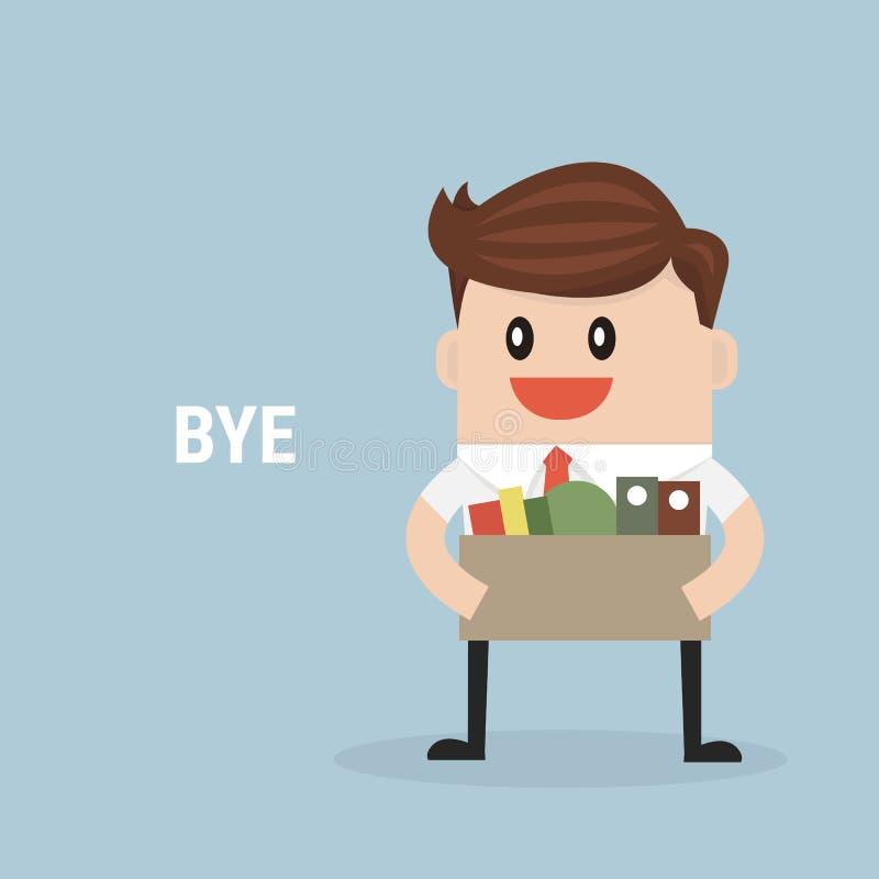 Affärsman Leaving Job, vektor, lägenhetdesign stock illustrationer