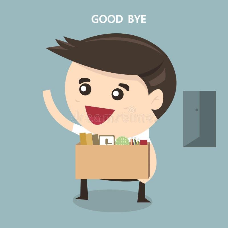 Affärsman Leaving Job, vektor, lägenhetdesign vektor illustrationer