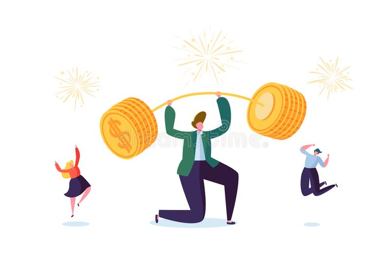 Affärsman Lifting Up Barbell med guld- mynt Finansiell framgång Team Work Concept Affärsprestation som gör pengar royaltyfri illustrationer