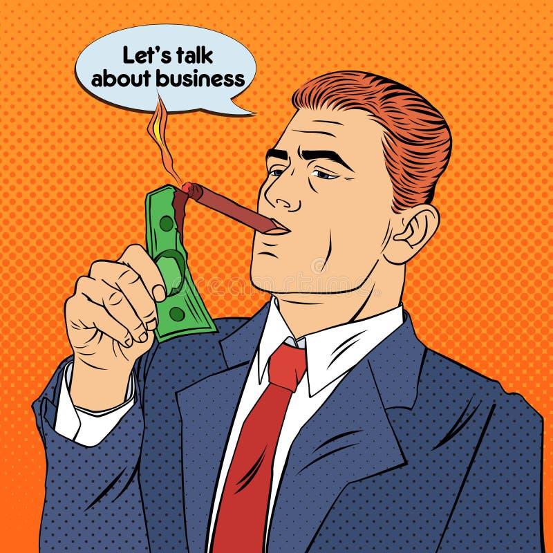 Affärsman Lighting Cigar med dollarräkningen lyckad affärsman vektor illustrationer