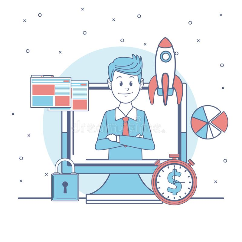 Affärsman med affärssymboler vektor illustrationer
